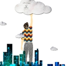 illustratie lange man 2 - wolkenkrabber